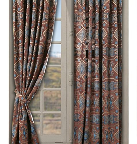 CARSTENS Rustic Western Decoration Drape Curtain Set In Brown and Blue - 2 panels, each measures 54″x84″ Southwestern and Native American Prints - SAGUARO DESERT DRAPES