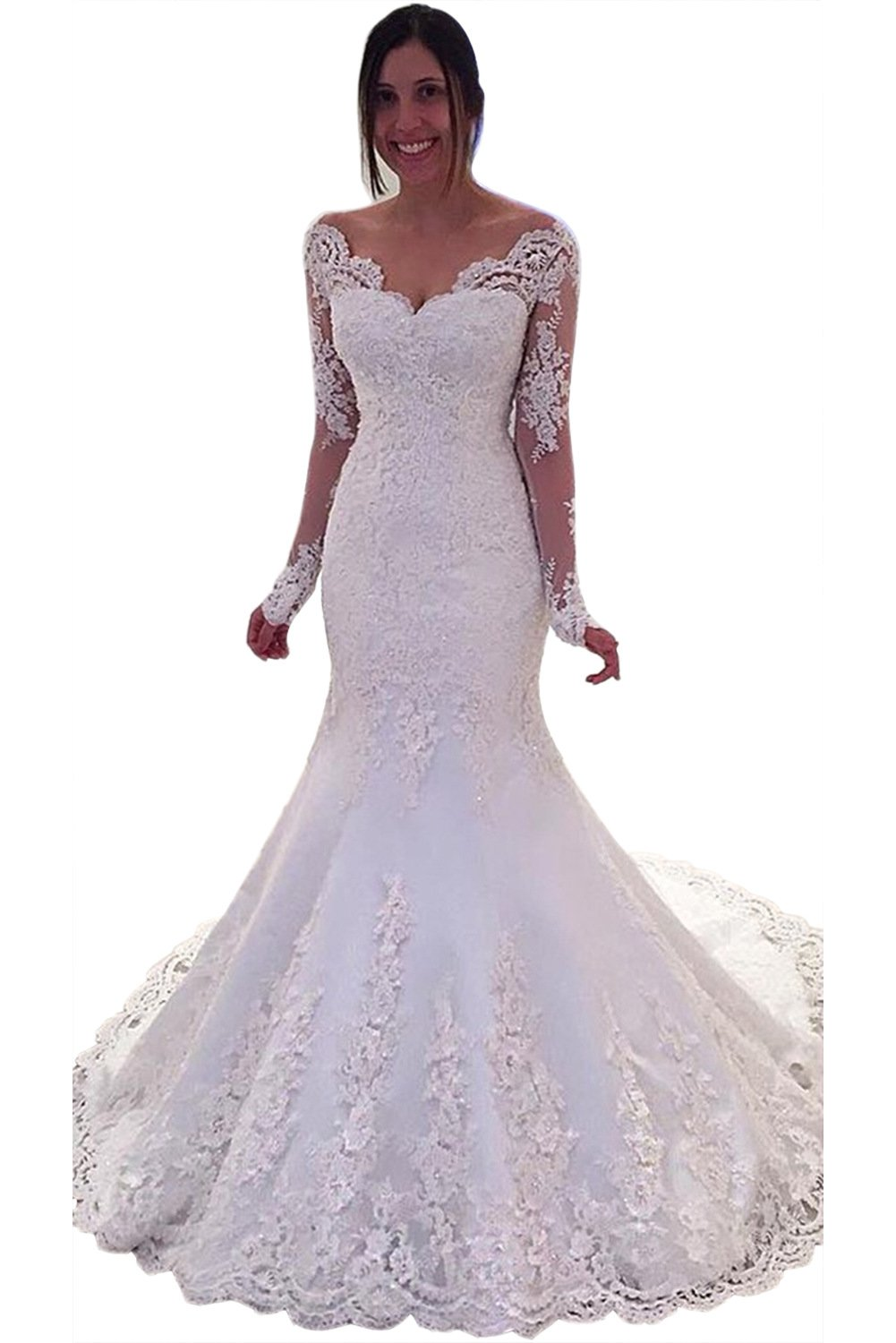 MARSEN Women's off Shoulder Formal Gown Bride Long Sleeve Mermaid Wedding Dress White Size 12