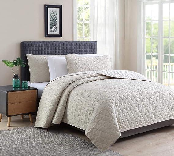 Bourina Soft Quilt 3-Piece Full Quilt Set Microfiber Lightweight Comforter Oversized Bedspread Full Coverlet Set Chambray