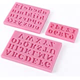 SODIAL(R)3 X Silicone Alphabet Letter Number Cake Biscuit Fondant Decorating Mould
