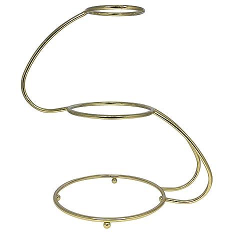 PME Soporte para Pastel de 3 Niveles en Forma de S con un Acabado de Oro