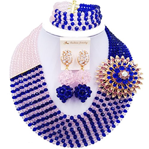 (laanc Jewelry 8 Rows Royal Blue Multicolor Gradient Crystal African Beads Nigerian Wedding Jewelry Sets (Royal Blue Peach) )