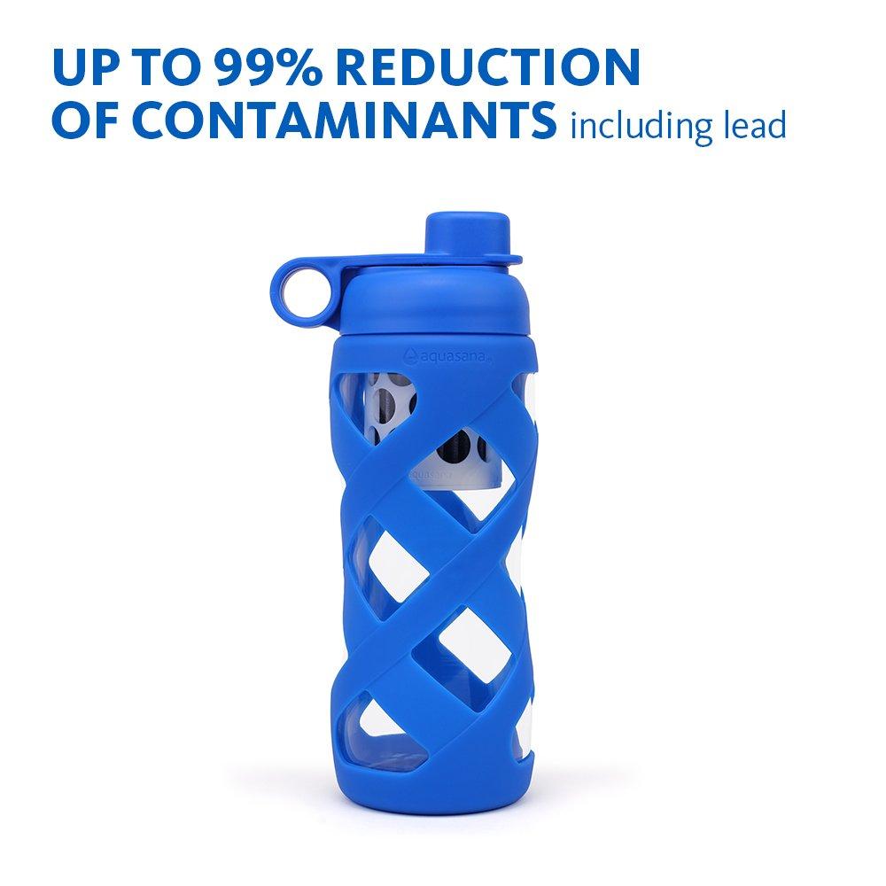 Aquasana 22 Oz reinigen Wasser Flasche mit Filter Glas, BPA-frei Cap, Blau
