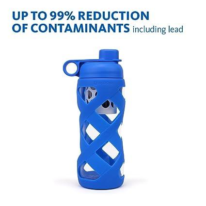 Aquasana 22 oz limpio botella de agua con filtro de cristal, sin BPA),
