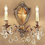 Chateau 2-Light Wall Sconce (French Gold - Crystalique Black)