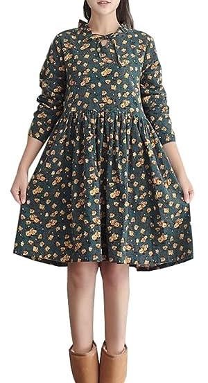 Plaid&Plain Women's Cotton&Linen Loose Linen O-Neck Floral Shift Dresses B-Green flower color 0/2