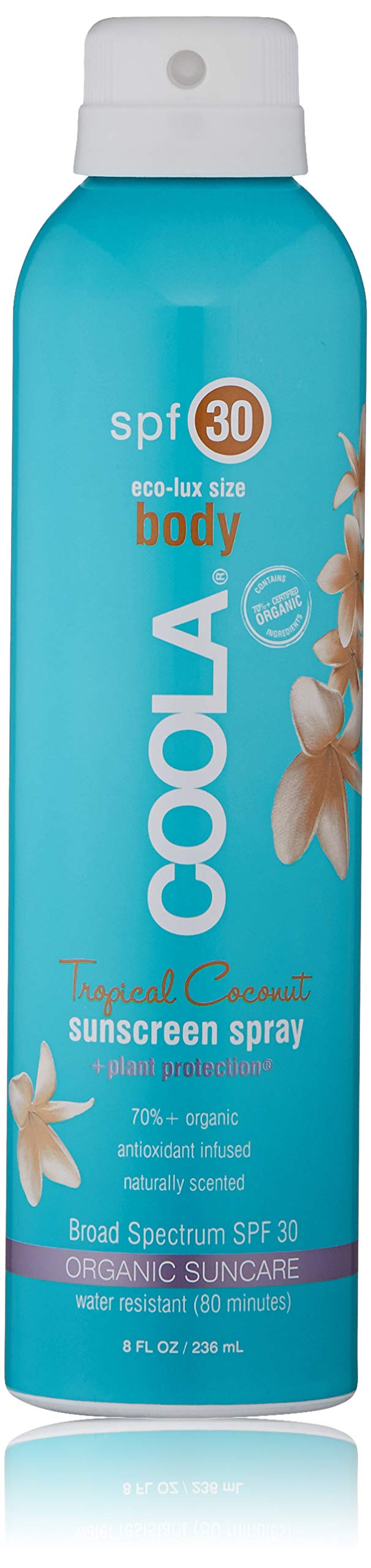 COOLA Organic Sunscreen Body Spray | SPF 30 | Certified Organic Ingredients | Farm to Face | Ultra Sheer | Eco-Lux Size | Continuous Spray | Water Resistant | Tropical Coconut