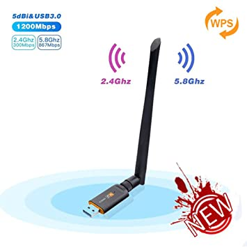 Inalámbrico USB WiFi Adaptador, Cherish 1200Mbps WiFi Antena con USB 3.0 Wireless Banda Doble 2.4