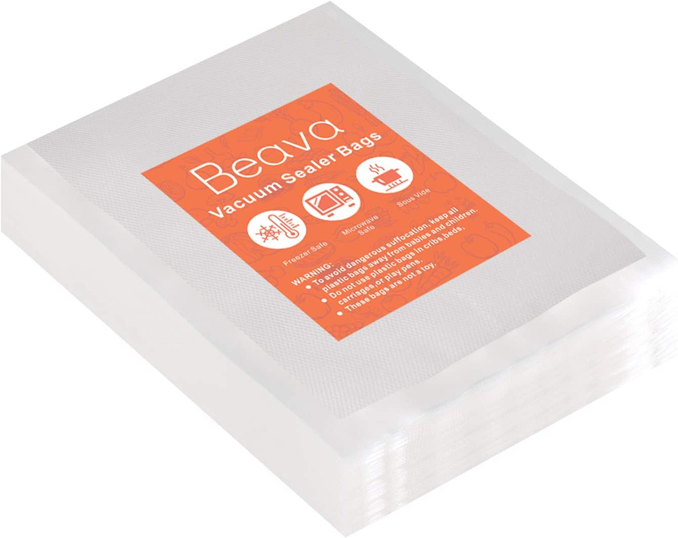 Vacuum Sealer Bags 5x7 Inch, Beava 100pcs Precut Vacuum Sealer Bags for food, Embossed Commercial Grade Food Saver Bags for Seal a Meal, Sous Vide Cooking or Meal Prep