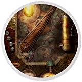 Pixels Round Beach Towel With Tassels featuring ''Steampunk - Victorian Fuse Box'' by Mike Savad