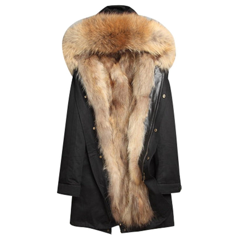 ファーモッズコートメンズ ファーコート ロング丈毛皮コート 大きいサイズファーパーカー暖かいファー付き取り外し可 冬アウター ミリタリー コートロングコートフォックスカッコイイ 防寒ふわふわ贅沢感 B077XB1F3F  ブラック2 XXX-Large
