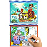 Aqua Doodle, Reusable Water-Reveal Activity Pads 2-pk 16 Pages Water Coloring Books Aqua Drawing Painting Toy Travel Kits with Bonus Pens for Kids(Letters &Numbers)