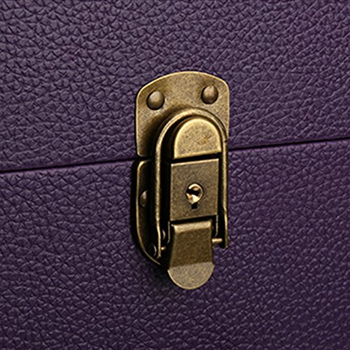 Lean Beauty Rolling Leather Makeup Case Travel Toiletry Case Nail Art Storage Bag on Wheel (Purple) by Lean (Image #2)