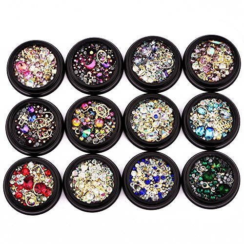 BlueZOO 12 Pack Mixed Nail Art Décor Accessories Decorations Rhinestones Diamonds Crystals Metal Studs Beads Gems for DIY Decor