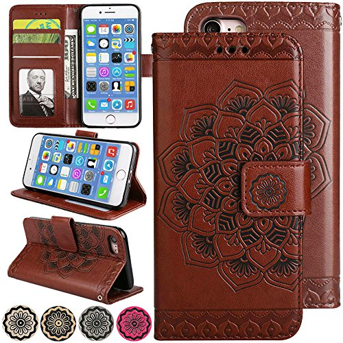 iPhone 8 Case, iPhone 7 Case, Fold Stand Wallet Case 3D Emboss Flower Leather Cover iPhone7 Flip Magnetic Folio Protective Phone Cover with Credit Card Holder for 4.7inch iPhone8 (Brown) - Iphone Style Phones