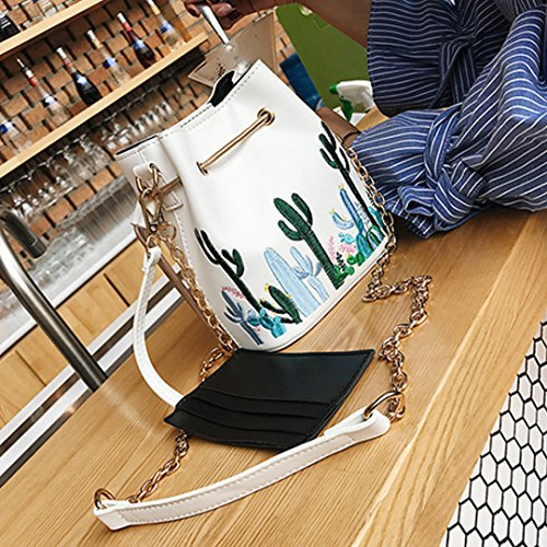 AiSi Damen Mädchen Kaktus 3D Blumen Design Leder Umhängetasche Beuteltasche Tasche, Handtasche mit Kordelzug, Ledertasche mit Schulterriemen Weiß Schwarz Beige Kaktus Weiß