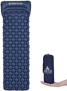 Hikenture Ultralight Sleeping Mat   Backpacking Sleeping Pad-Compact Inflatable Camping Air Mattress Pad for Camping,Sleeping,Backpacking,Travel,Hiking,Hike Camp Air Pad (Army Green,Blue)…