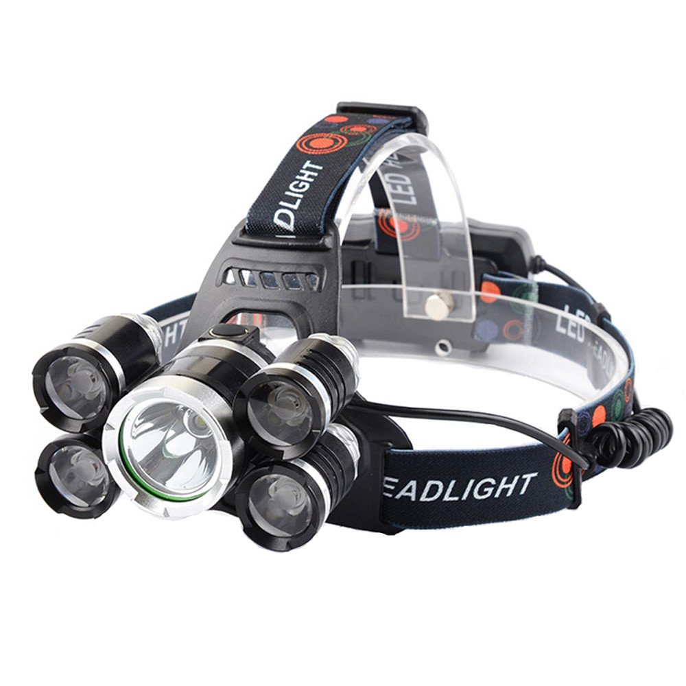 Waterproof LED Headlamp, Wewdigi 5 LED Bulbs 4 Mode-Hands Free Flashlight, headlight flashlights for Running Walking Camping Reading Hiking Riding Fishing 2Pcs Batteries AC Charger