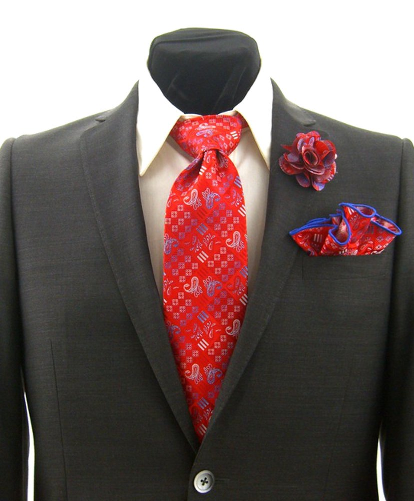 Men's Red & Blue Paisley Necktie Tie, Round Pocket Square and Lapel Pin Box Set