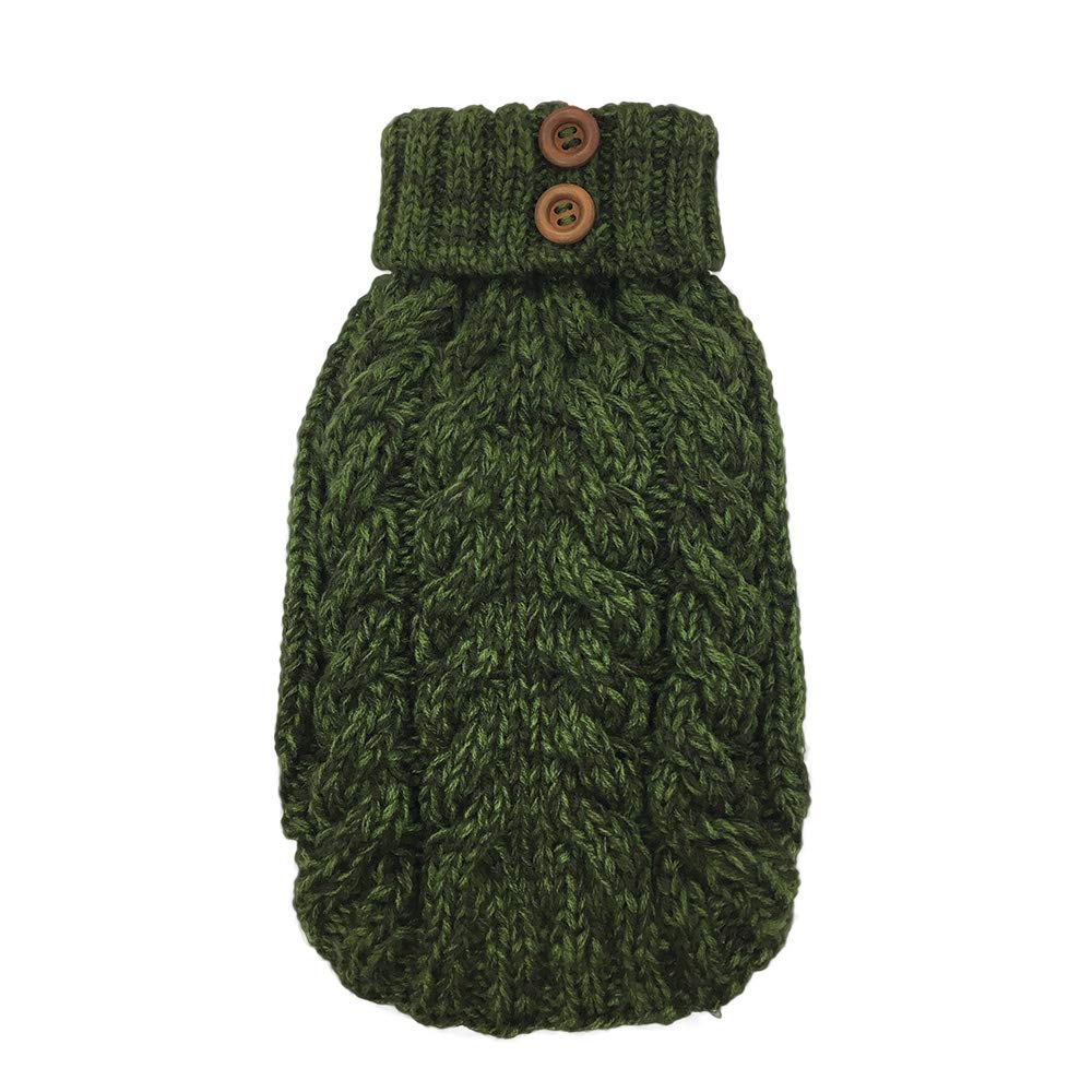 FouFou Dog 85730 Cable Sweater Green, S