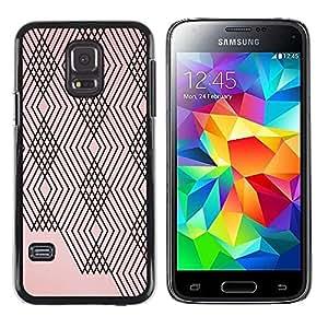 FECELL CITY // Duro Aluminio Pegatina PC Caso decorativo Funda Carcasa de Protección para Samsung Galaxy S5 Mini, SM-G800, NOT S5 REGULAR! // Abstract Lines Plaid Peach Pink Black Pattern