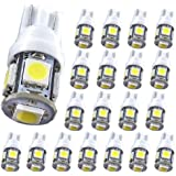T10 194 Car LED Bulb - MuHize 6000K White DC 12V 5SMD (Upgrade Version), Replacement W5W 168 2825 Lamp, for Interior Dome Map Door Courtesy License Plate Lights, 2 Years Warranty (Pack of 20)