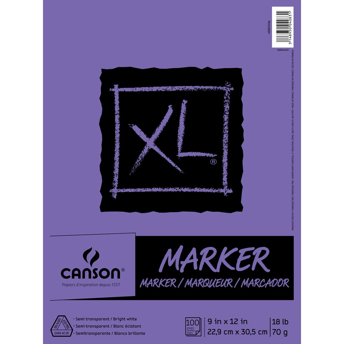 Canson XL Series Marker Paper Pad, Semi Translucent for Pen, Pencil or Marker, Fold Over, 18 Pound, 9 x 12 Inch, White, 100 Sheets (400023336) by Canson