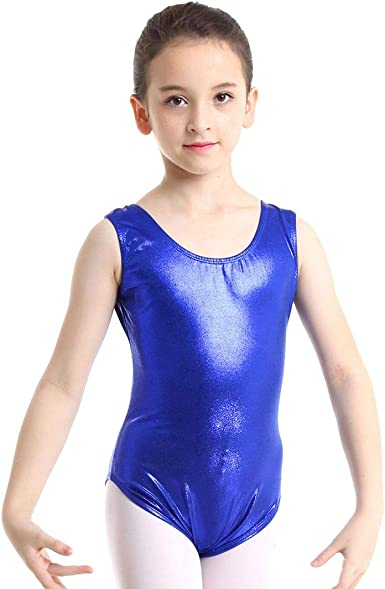 Girls Gymnastics Leotards Kid Shiny Metallic Ballet Dancewear Jumpsuit Biketard
