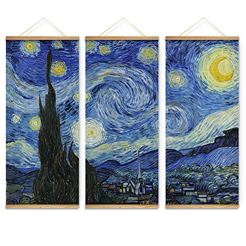 3 Pieces Impressionism Van Gogh The Starry Night Decoration