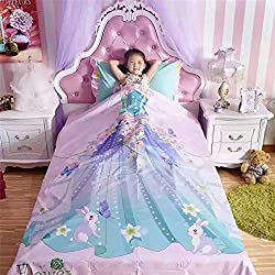 DeMissir 100% Cotton Bedding Set Digital Printing Children Princess Duvet Cover Sets (Queen 4pcs set)