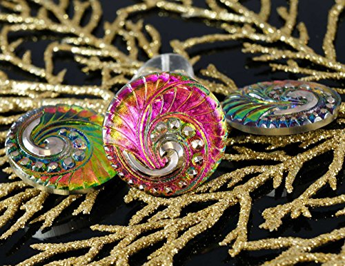 Dichroic Glass Buttons - 1pc Handmade Czech Glass Button Large Silver Spiral Dichroic Vitrail Valentine Pink Size 12, 27mm