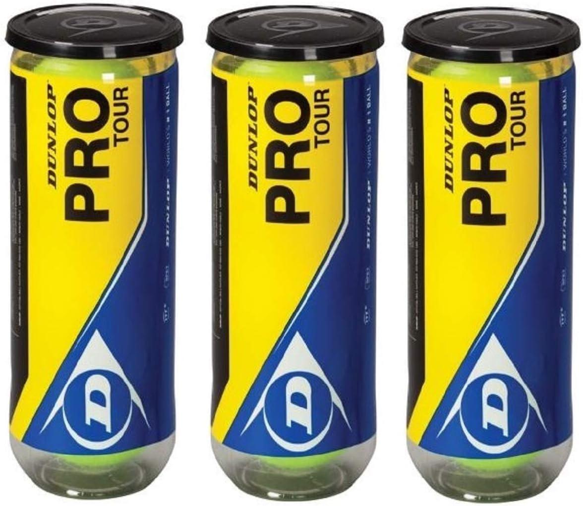 Dunlop Pro Tour Pelota de Tenis Pack 9 Pelotas (3x3): Amazon.es ...