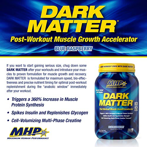 MHP Dark Matter Post Workout, Recovery Accelerator, w Multi Phase Creatine, Waxy Maize Carbohydrate, 6g EAAs, Blue Raspberry, 20 Servings
