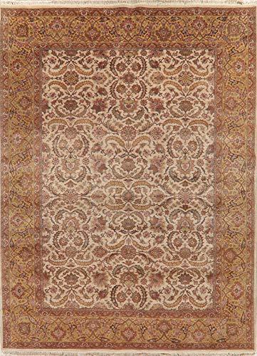 (Breathtaking 9X12 Floral Light Beige Agra Oriental Area Rug Wool New)