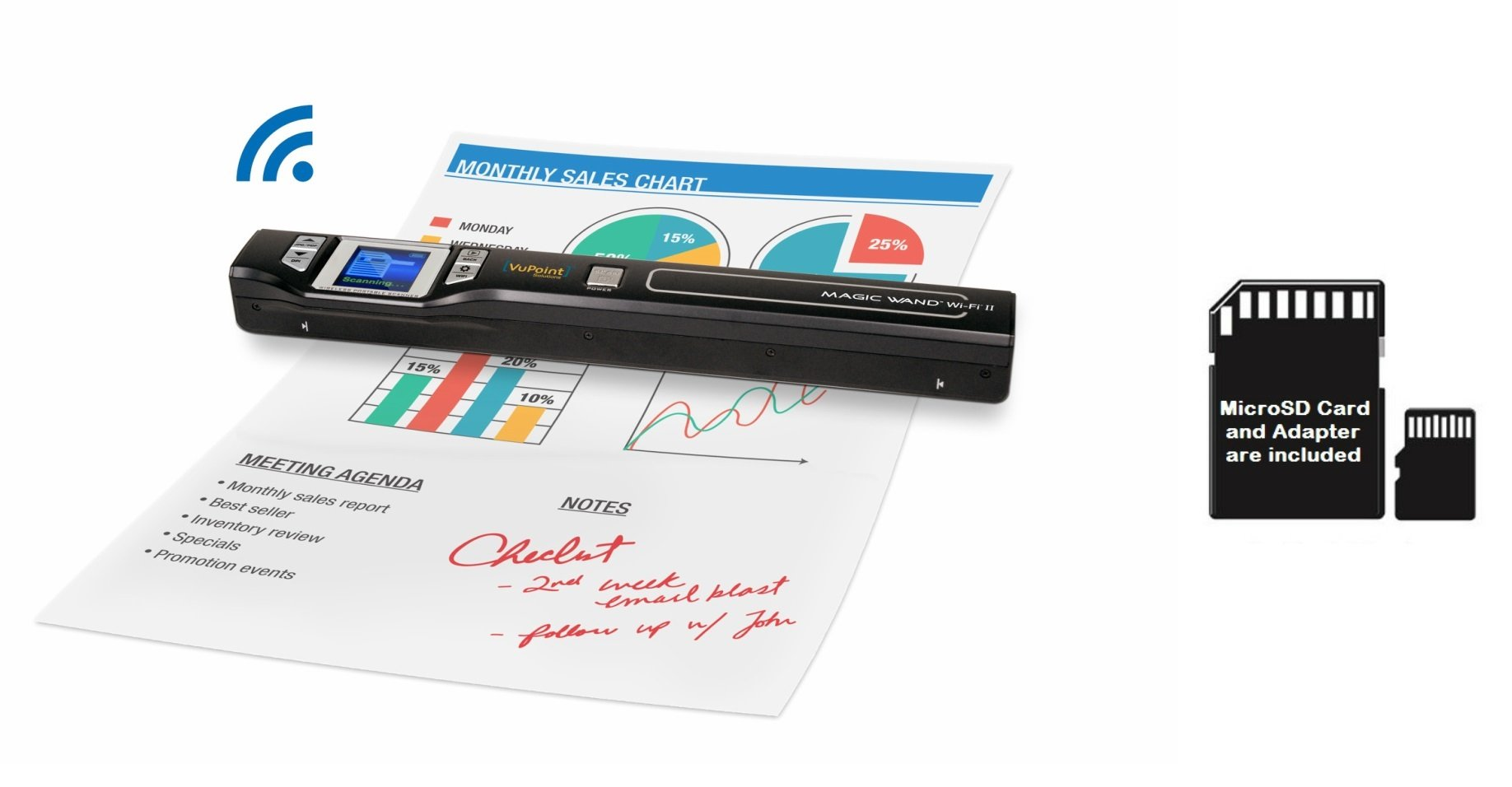 VuPoint Magic Wand Wireless Portable Scanner with Wi-Fi, Plus Bonus 8GB MicroSD Card, PC and Mac, Mobile/Portable PDSWF-ST47-VP