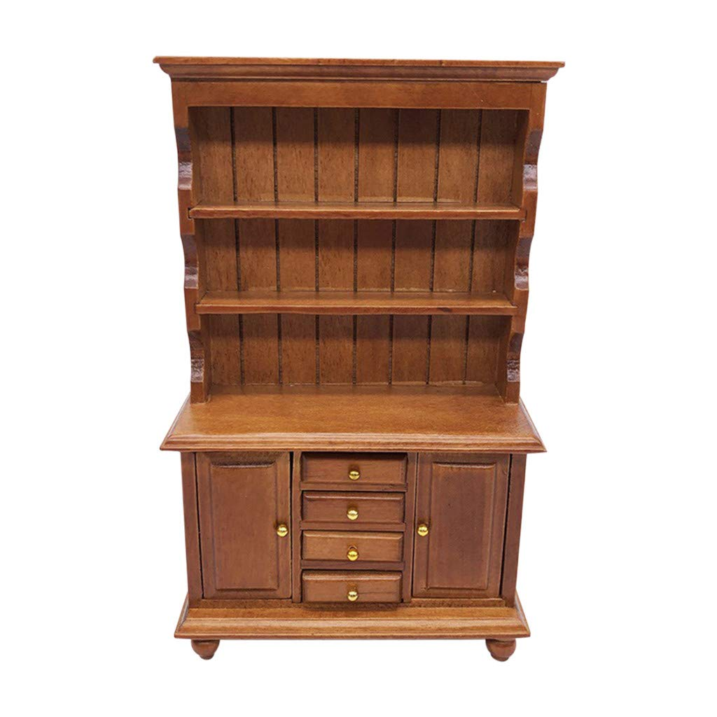 Dollhouse Accessories and Furnitures 1 12 Scale Wooden Miniature Bookshelf with Drawers Mini Multifunctional Bookshelf Bookcase Cabinet for 1/12 Doll House Decoration