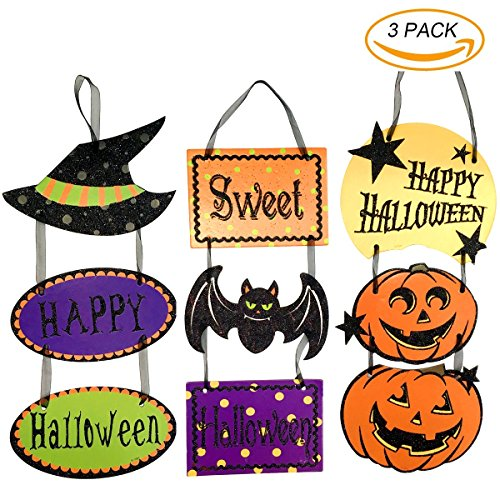 Besokuse Happy Halloween Door Hanging Sign Pumpkin Witch Hat Bat Décor for Halloween Party ,Home, School, Office,Bar (Glitter Happy Halloween Sign)