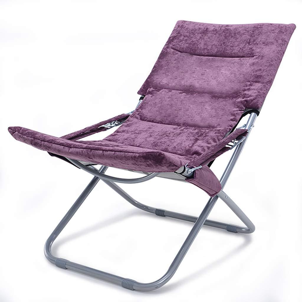 ポータブル 折りたたみ椅子リクライニングチェア怠惰な椅子アームチェアバルコニーレジャーチェア屋外ガーデンチェアビーチチェア (Color : Purple) B07T68777Z Purple