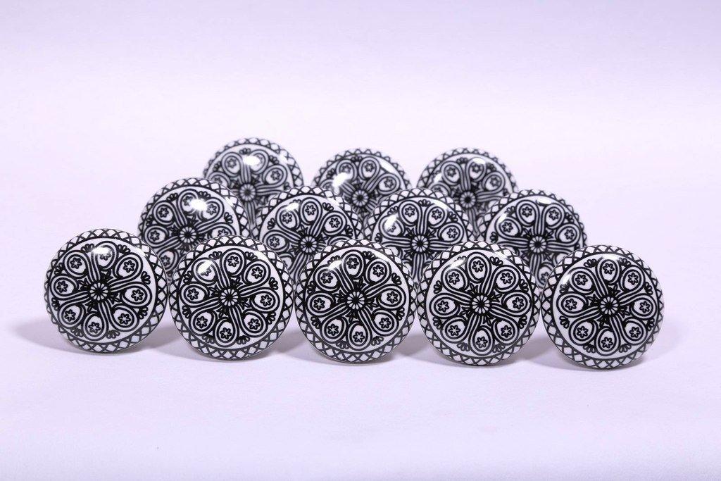 Glitknob 10 Knobs Flat Black Wheel Hand Painted Ceramic Knobs Cabinet Drawer Pull