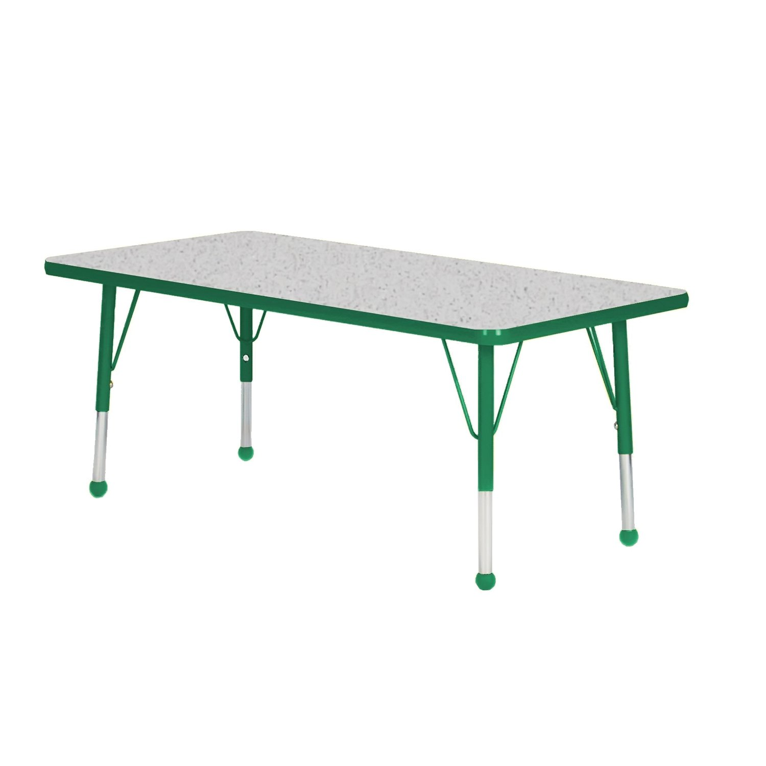 48'' x 30'' Rectangular Classroom Table Table Size: Toddler 16''-24'' Ball Glide, Side Finish: Dustin Green, Top Color: Gray Nebula by Mahar (Image #1)