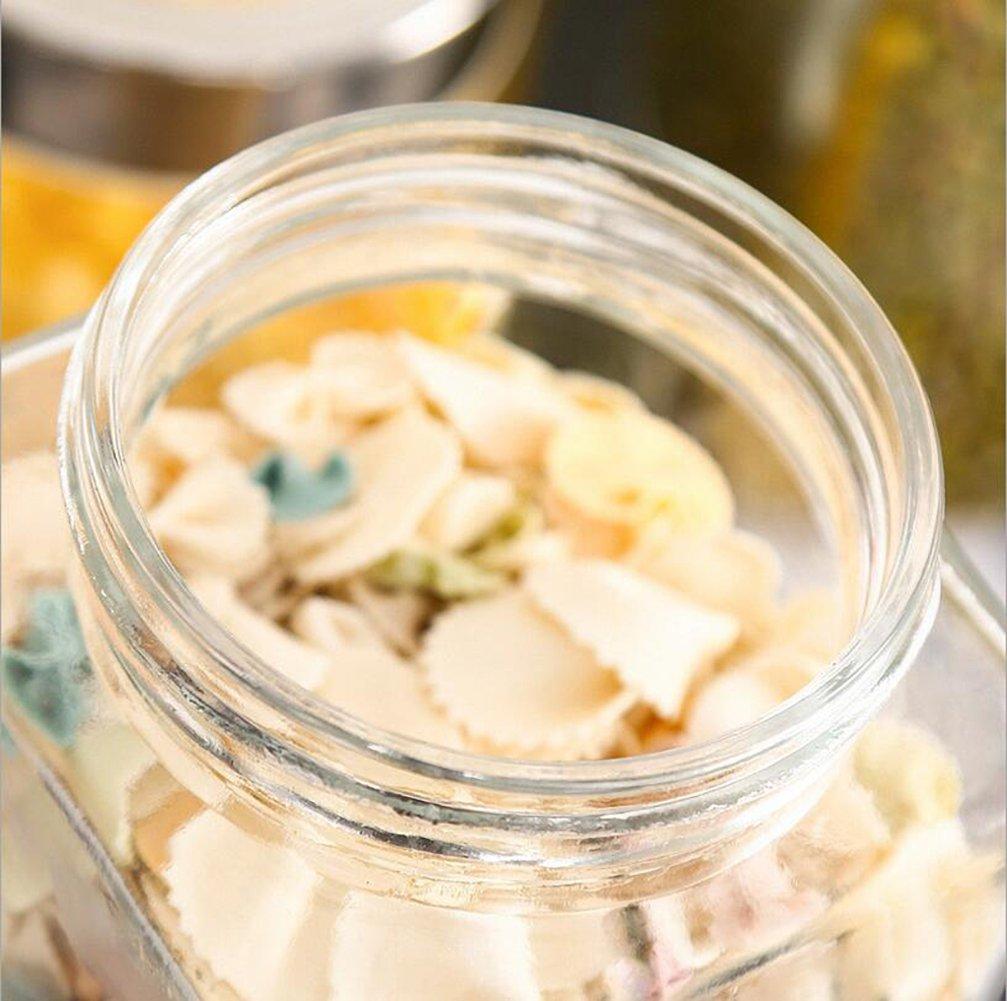 0.5 Litros Frasco de Vidrio con Tapa Enroscable Tarro de Cristal Transparente LLQ Botes Herm/éticos para chuches Cereales Especias etc
