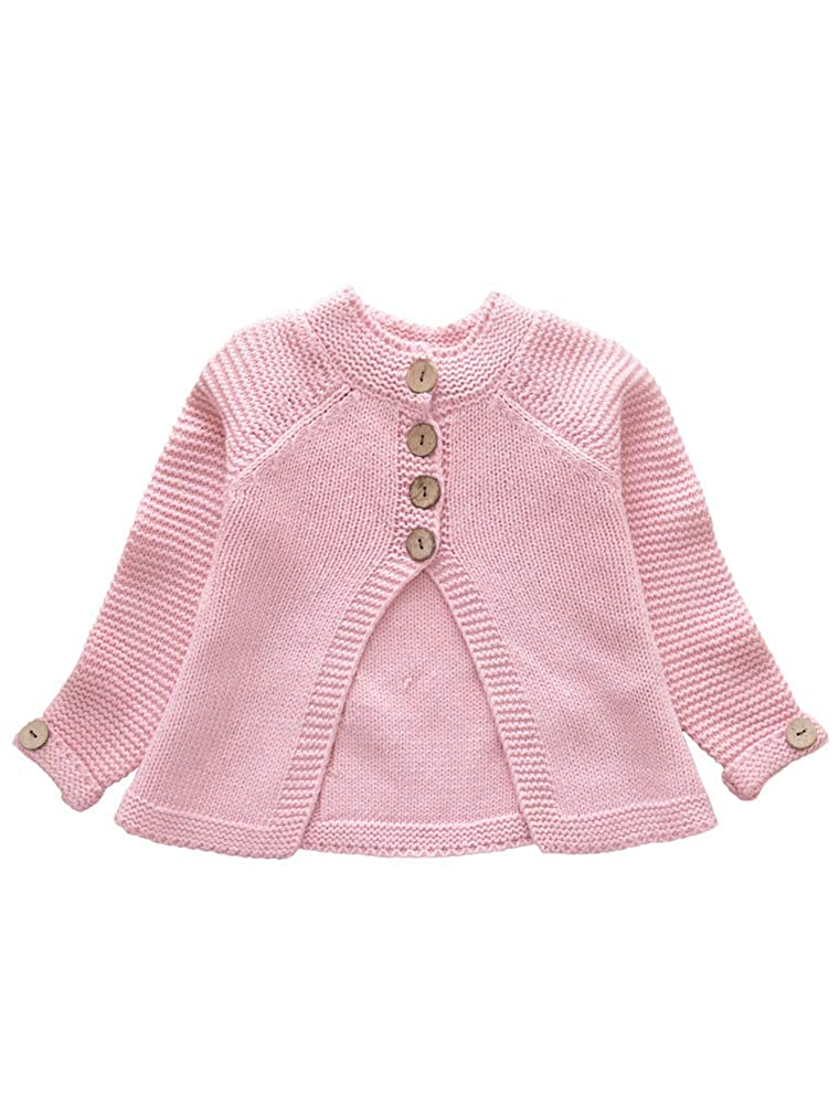 ARAUS Toddler Baby Girls Cute Autumn Button Knitted Sweater Cardigan Warm Thick Coat Clothes