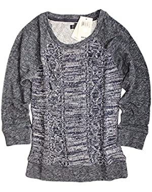 Women's - Dark Blue Marled 3/4 Sleeve Cotton Cable Knit Crew Neck Sweater