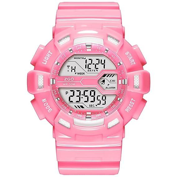 Candy color impermeable deporte luminoso reloj digital/Escuela primaria niños y niñas lindo reloj de niños niñas-C: Amazon.es: Relojes