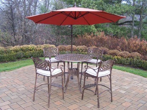 Oakland Living Elite Mississippi Cast Aluminum 5-Piece Bar Set with 42-Inch Table, Cushions and 10-Feet Cantilever Burnt Orange Umbrella