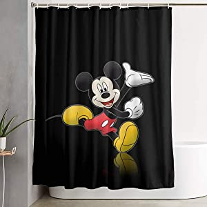Shower Curtain with Hook - Mickey and Minnie Mouse Waterproof Polyester Fabric Bathroom Decor 60 X 72 Inches