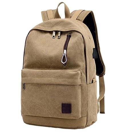 Westeng 1 piezas Backpack Mochilas Moda Estudiante Casual Bolso de Escuela Lona Mochila de carga USB