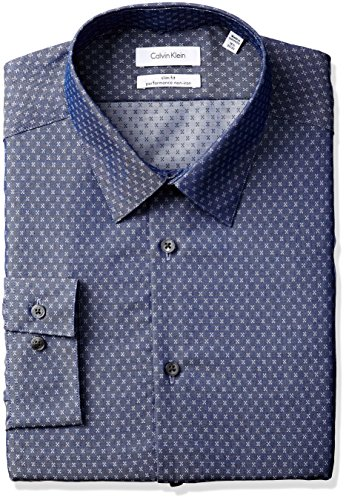 Mini Point Collar Dress Shirt (Calvin Klein Men's Non Iron Slim Fit Print Point Collar Dress Shirt, Dark Navy, 17.5