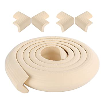 Easy to Install X-Loves 2 Meter L-Shape Edge Protector and 4 x Corner Guards Set Bench and Other Home Furniture Colour Beige Premium high Density Foam Baby Protective Household Tool for Table