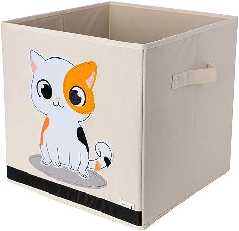 Caja de Almacenamiento / Cubo / Organizador – Diseño de Gato – Tela de Lona Reforzada Duradera – 33x33x33cm – La Caja de Almacenamiento de Animales Perfecta para Niños por Sun Cat: Amazon.es: Bebé
